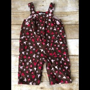 Baby boden Brown Corduroy romper with pink. Birds